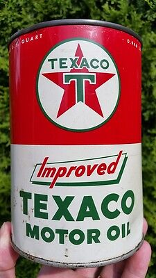 Texaco Improved Motor Oil Tin Can One US Quart
