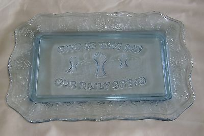 Tiara Indiana Glass Blue Give Us This Day Our Daily Bread Plate