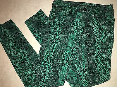 Girls Size 14S 14 Slim Mint Green & Black Snakeskin Look Justice Pants Stretch !