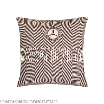 Mercedes Benz Original Classic Pillow 40x40cm Herringbone weave Brown NIP