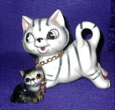 """Vintage Black & Gray Striped Cat Chained to Baby 4"""""""