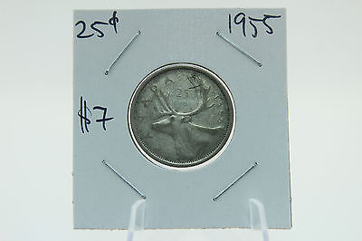 Canada 25 Cent Quarter Collection - 1955 Silver Caribu  Circulated - Die Rotated