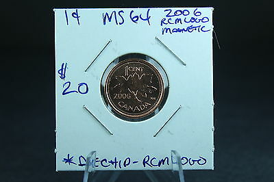 Canada 1 Cent Penny Collection - 2006 Magnetic w/RCM Mint Mark- ERROR Die Chip