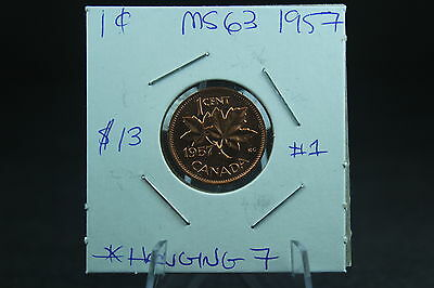 Canada 1 Cent Penny Collection - 1957 Hanging 7- ERROR Die Clash
