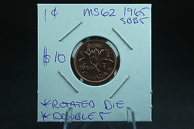 Canada 1 Cent Penny Collection - 1965 SBB5 Double 5  + Rotate Die