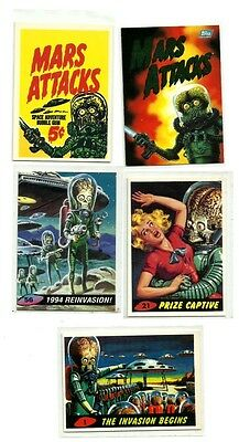 Mars Attacks 1994 Four (4) Promo Cards + Card 0 NMint Condition
