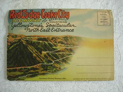 1937 Vtg Souvenir Picture Card Folder Yellowstone Red Lodge Cooke City Highway