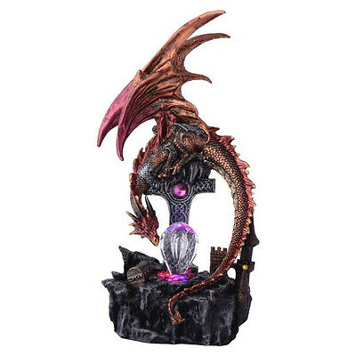 Fire Dragon with Crucifix LED Light Up Crystals Figurine Ornament Sculpture 31cm