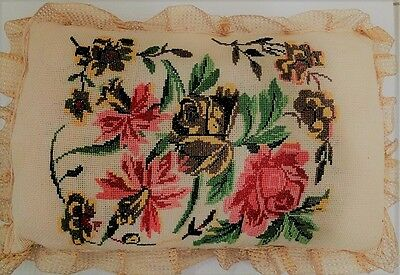 Victorian Pillow Cushion Antique Vintage 2 Sided Reversible 19thC Embroidered