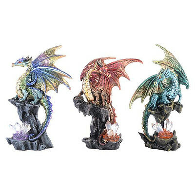 Dragon Ornament Statue Figurine Ornament Green Blue Maroon Sculpture *Set of 3*