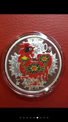 1pc 2017 china coloured rooster silver coin coa box