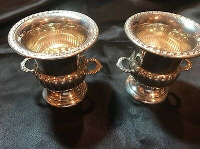 Pair (2) Wallace Sterling Champagne Bucket Urn Bowl 925 Repousse Miniature 84