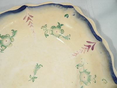 """Early Canadian Pottery PLATE embossed Edge 8 1/2""""  Sponge Ware Canada"""