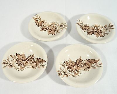 4 RARE Clarice Cliff BROWN Vitrified Harvest A.J.Wilkinson China  Butter Pats