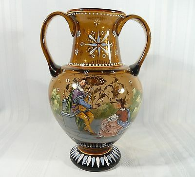 "12"" Historismus glass Vase, dated 1657 Medieval Renaissance Enamel Painted"