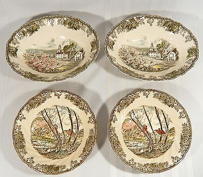 4 Johnson Bros Friendly Village Bowls 2 Oval Vegetable 2 Round MADE in ENGLAND