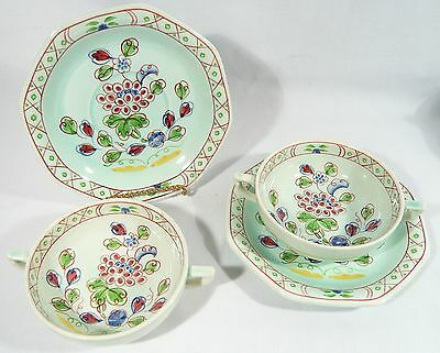 2 ADAMS Old Bow CALYX Ware Cream Soup Bowls with under plate / Saucer