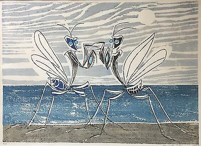 PAUL RENE GAUGUIN Norwegian Original Signed Color Woodcut Mantis Insects LISTED