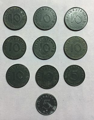 Lot Of 10 German Third Reich 5 and 10 Reich Pfennings Coins