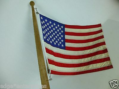 """Vintage 1960s FLAG POLE WITH AMERICAN FLAG. CHRIS CRAFT BOAT 23"""" x 16"""""""