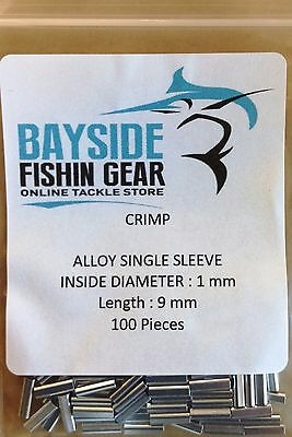 ALLOY ALUMINUM CRIMPS 1 mm X 9 mm x 100 SUIT WIRE & MONO TRACE FISHING LEADER