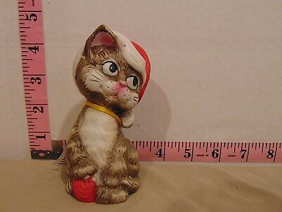 1980 Jasco Critter Bells Santa Hat Cat Handcrafted In Taiwan With Tag