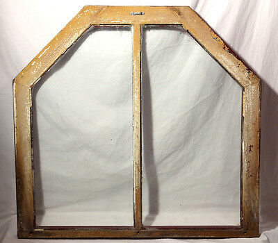 Antique UNUSUAL ARCHED WINDOW FRAME - ORIGINAL WAVY GLASS Architectural Salvage