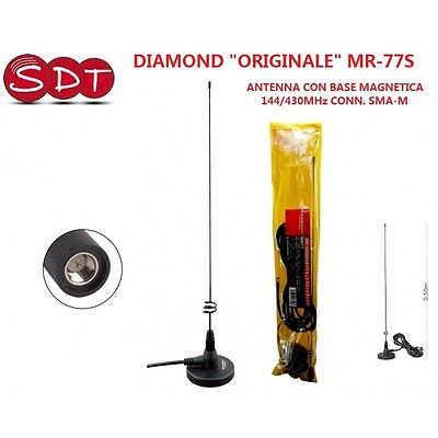 DIAMOND ORIGINAL MR-77S ANTENNA WITH MAGNETIC BASE 144/430MHz CONNECTOR SMA-M