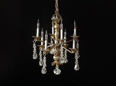 Dollhouse Miniature Handcrafted 8 Arm Brass Crystal Chandelier 12V 1:12 Scale