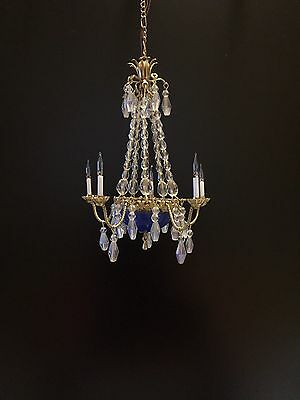 Dollhouse Miniature Handcrafted Crystal Chandelier with Bowl 12V 1:12 Scale