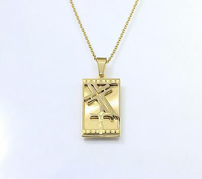 "High Quality 18K Gold 316L Stainless Steel Cross Pendant 20"" Necklace Chain"