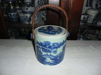 Blue Willow Pearl Wear Ironstone Biscuit Barrel