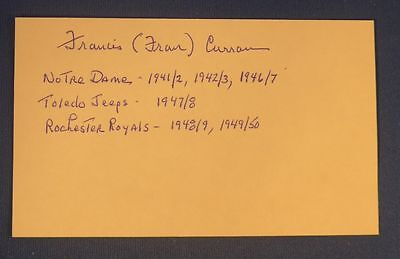 FRANCIS CURRAN  signed 3 x 5 Rochester Royals Toledo Jeeps 1947-50