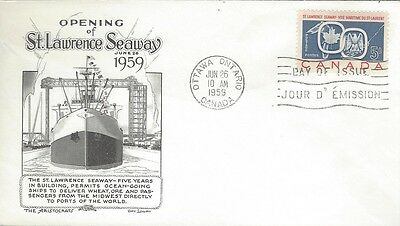 1959 #387 St Lawrence Seaway FDC with Aristocrats - Day Lowrey cachet