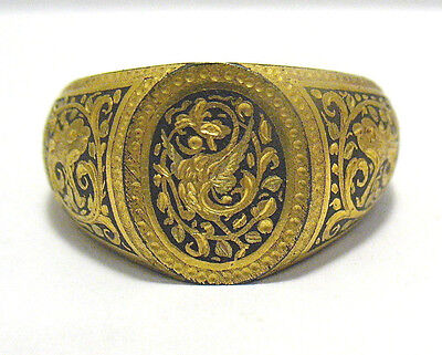 Victorian Gold Filled Enamel Etched Ring Band Size 10.75   10.6 Grams