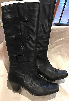 Knee Length WIDE LEG lined Leather Black Boots, Size 39
