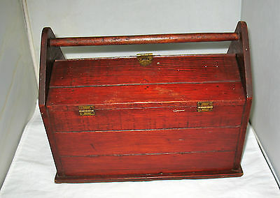Antique Wooden Sewing Box Art Deco Floral Clasp Fold Out Cherry Colored