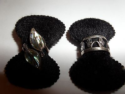 Vintage 2 Lot Sterling Silver Rings Hands And Abalone Size 6 And Adjustable