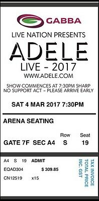 ADELE BRISBANE TICKETS - 2 x A FLOOR RESERVE SEATING - SAT 4TH MAR 2017