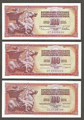 Yugoslavia 100 Dinara 1978, 1981, 1986; UNC; P-90a,b,c; set of 3 notes