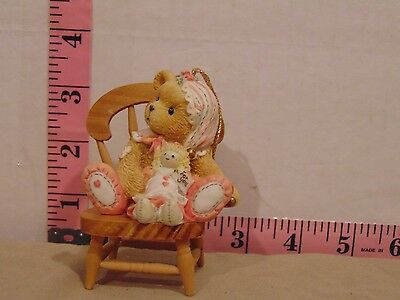 1995 Cherished Teddies Ornament #625434 Girl Bear With Doll Chair Not Included