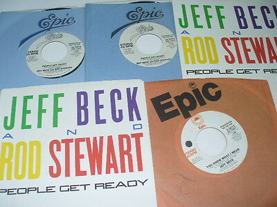 """Jeff Beck 3 7"""" Promo 45 Records + 2 Demo Picture Sleeves People Get Ready  etc."""