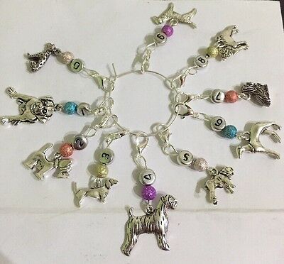 Set Of 10 Numbered 0-9 Dog Theme Knitting Stitch Markers. Lobster Clip Or Loop