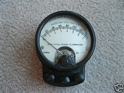 Antique Weston Voltmeter Old Electric Meter Patent Date 1901 Steampunk