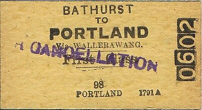 Railway ticket a trip from Bathurst to Portland by the old NSWGR
