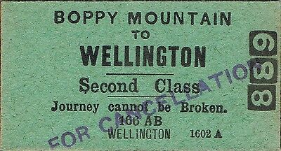 Railway ticket a trip from Boppy Mountain to Wellington by the old NSWGR