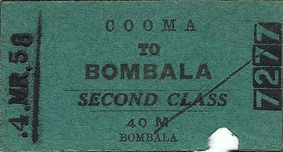 Railway ticket a trip from Cooma to Bombala by the old NSWGR in 1958