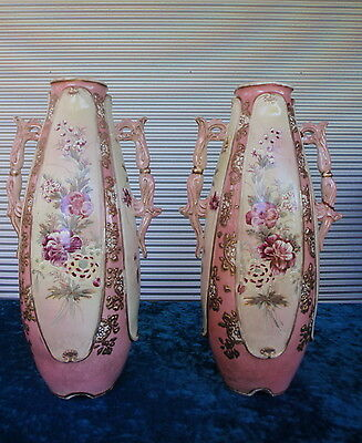 Pair of Ornate Antique Vases With Handles ~ Floral Design Pink Gold Signed Bases