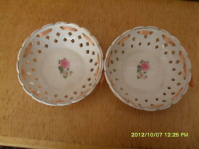 Pair Of Lace/ribbon Bowls With Rose Design