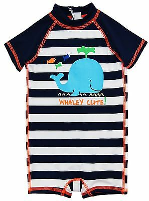 Wippette Baby Boys Swimwear Navy Stripes Cute Whale 1-Piece Rashguard Swimsuit